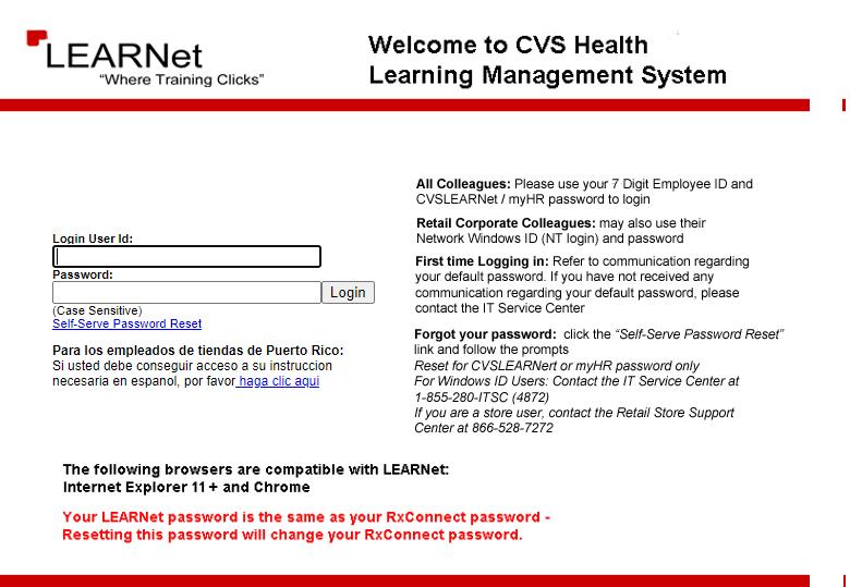 CVS Learnet Login Page